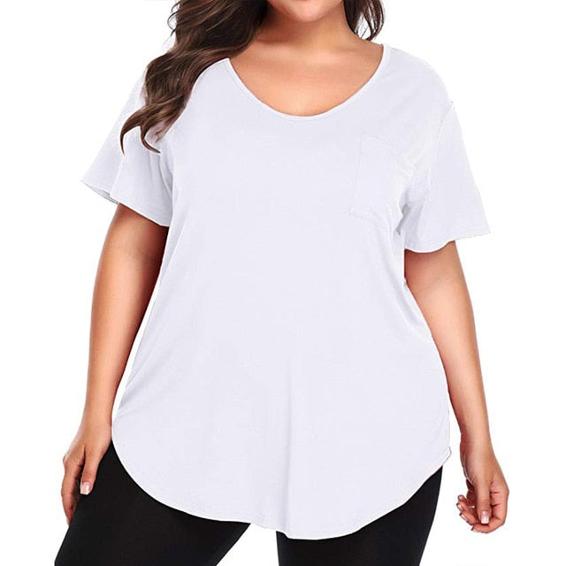 Short Sleeve O Neck Solid Color Shirt