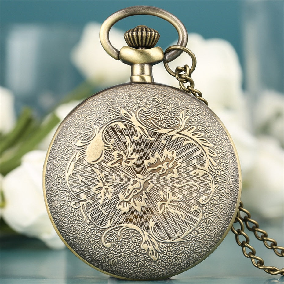 Roman Numeral Display  Quartz Open Face Analog Pocket Watch