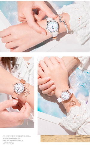Genuine Leather Band Colored Rim Ladies Watch