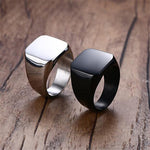 High Quality 2018 New Stainless Steel Black Men's Rings All-gloss Square Solid Titanium Classic Ring Wedding Engagement Jewelry