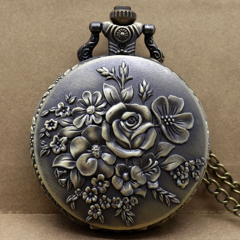 Blooming Flowers Stainless Steel Analog Fob Watch