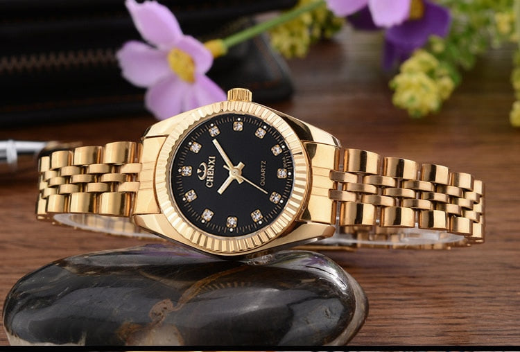 Gold Plated Rounded Stainless Steel Analog Wrist Watches for Couples