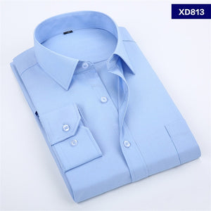 2020 New Men's Dress Shirt Solid Color Plus Size 8XL Black White Blue Gray Chemise Homme Male Business Casual Long Sleeved Shirt