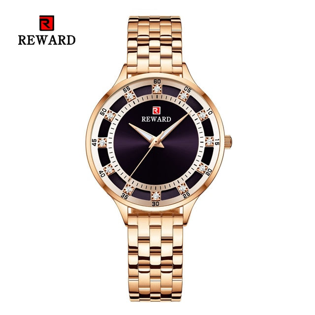 Round Luminous Hand Stainless Steel Water Resistant Ladies Watch