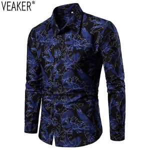 2019 New Men's Slim Fit Long Sleeve Shirt Male Casual Printed Shirts Floral Print Casual Business Shirt Tops
