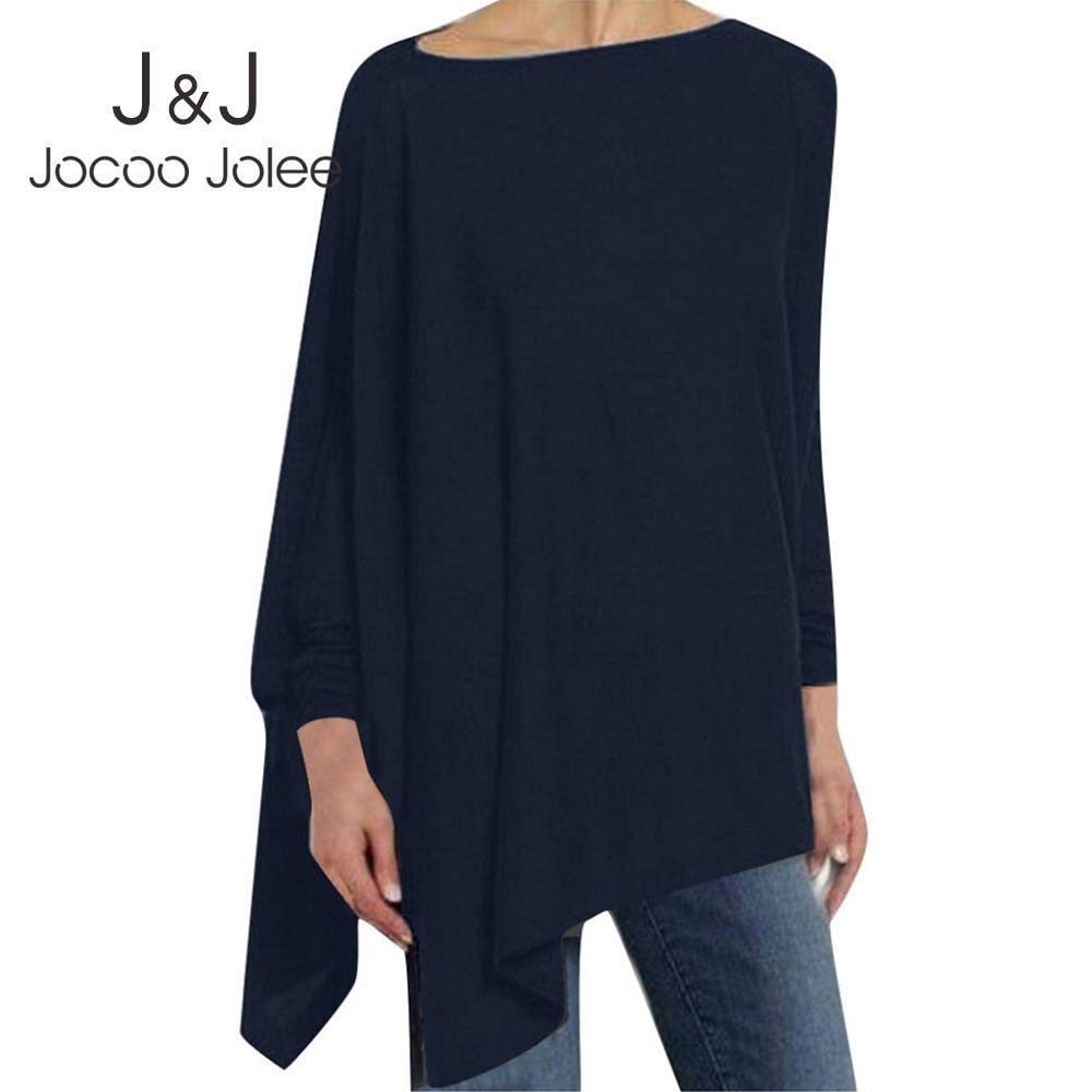 Irregular Solid Color Batwing Sleeve Cotton Top