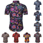 Fashionable Plus Size Hawaiian Men Floral Geometric Turn Down Collar Short Sleeve Shirt Slim Top