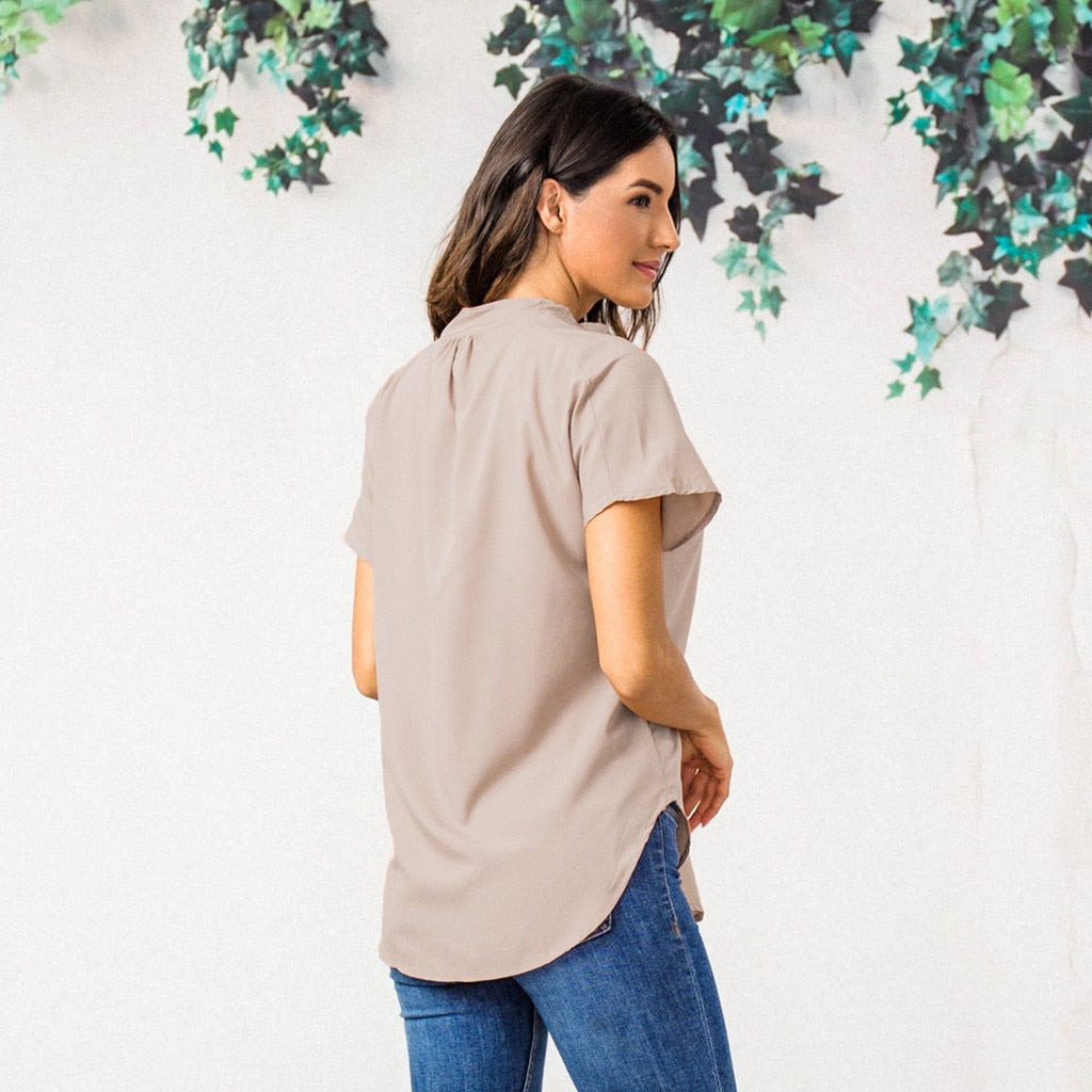 Short Sleeve V Neck Solid Color Tee Shirt