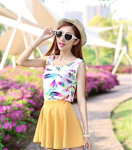 cheap Kaguster Chiffon blouse Vest Summer Tank top  women sleeveless pink BLACK WHITE spaghetti strap mujer SHIRT yellow tops