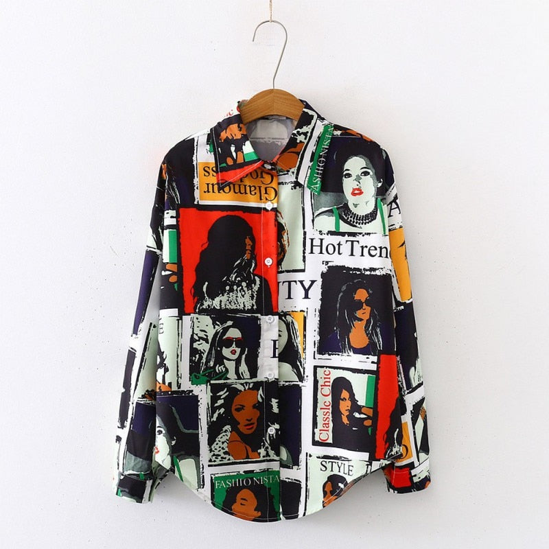 Long Sleeve Cartoon Printed Cotton Blouse