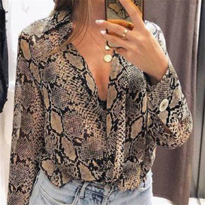 Short Sleeve Snake Skin Turn down Collar Shirt