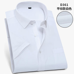 Twill Pure Color  large size Men Shirt Short Sleeve Slim Fit Formal Men's White Shirt Business Male Social Shirts
