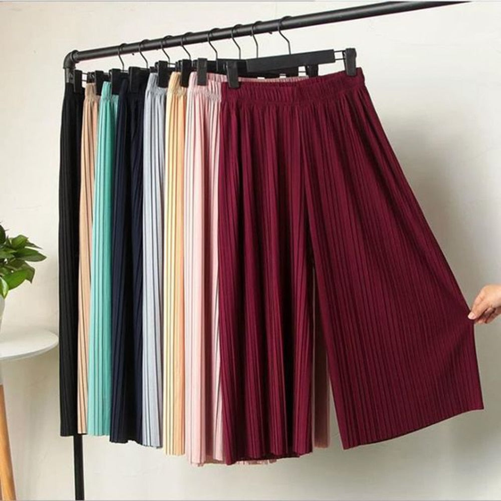 KLV 2020 Summer Spring New Fashion Tide Black Casual Loose Elastic Waist High Pleated Wide Leg Women Chiffon Loose Pants