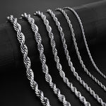 Jiayiqi 2mm-7mm Rope Chain Necklace Stainless Steel Never Fade Waterproof Choker Men Women Jewelry Gold Silver Color Chains Gift