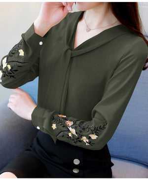 Long Sleeve Embroidered Chiffon Office Blouse