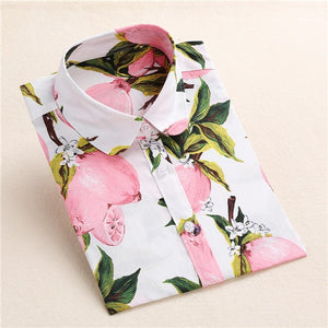 Long Sleeve Turn Down Floral Fruit Printed Cotton Shirts