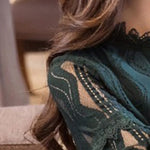 Long Sleeve Lace Hollow Out embroidered Blouse