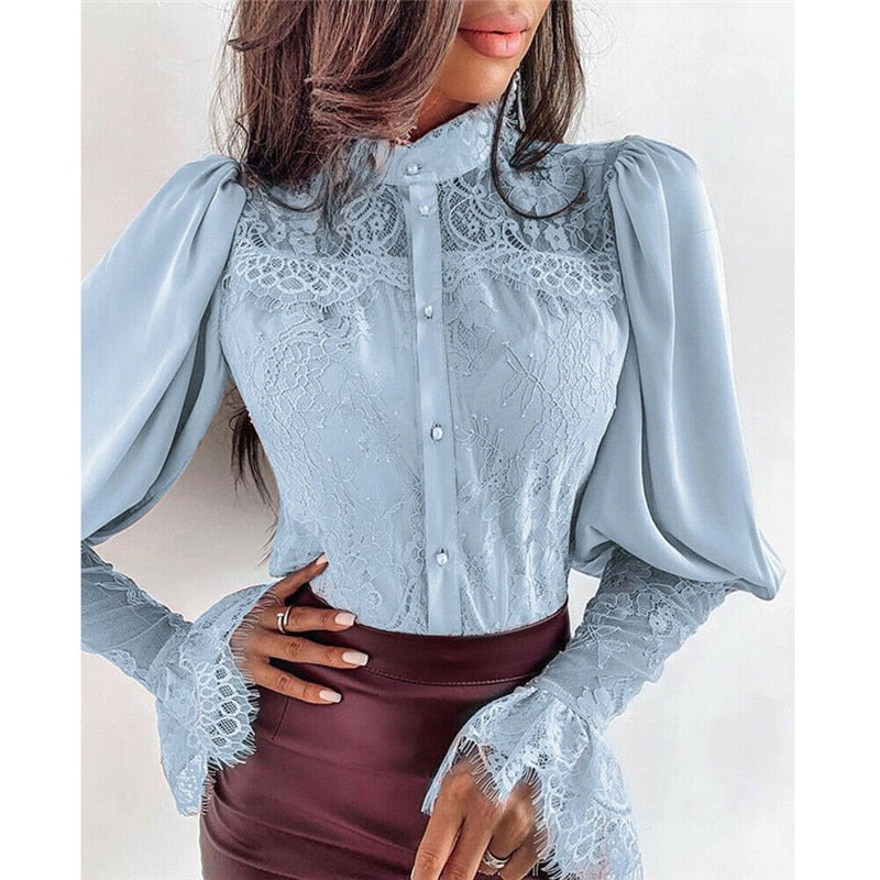 Lantern Sleeve High Neck Solid Color Lace Blouse