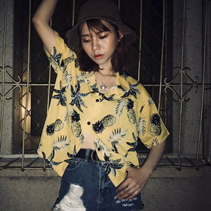 Short Sleeve Coconut Printed Chiffon Shirts