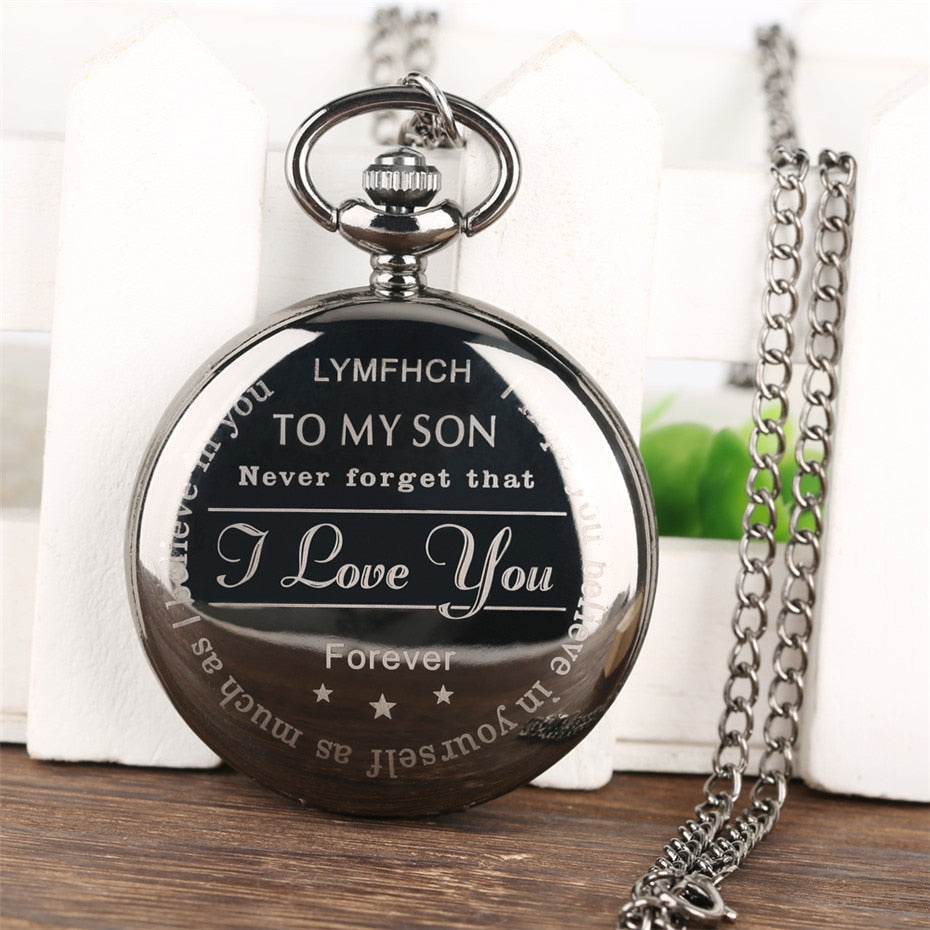 To My Son Embedded Roman Numeral Display Gift Fob Watch