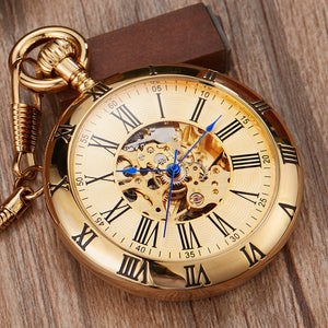 Golden Mechanical Automatic Roman Numeral Fob Watches for Ladies