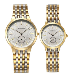 Rounded Dial in Dial Seconds hand Steel Band Wrist Watches for Couples