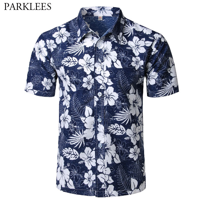 Mens Summer Fashion Beach Hawaiian Shirt Brand Slim Fit Short Sleeve Floral Shirts Casual Holiday Party Clothing Camisa Hawaiana