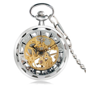 Hand Wind Analog Hollow Transparent Fob Watch