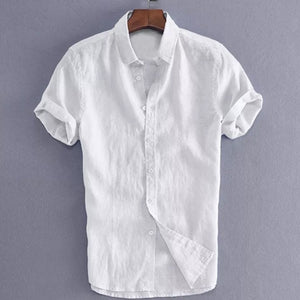 2019 New Men's Casual Cotton linen shirt Male White Short Sleeve Shirts Men Summer Solid Color Shirt Tops M-3XL