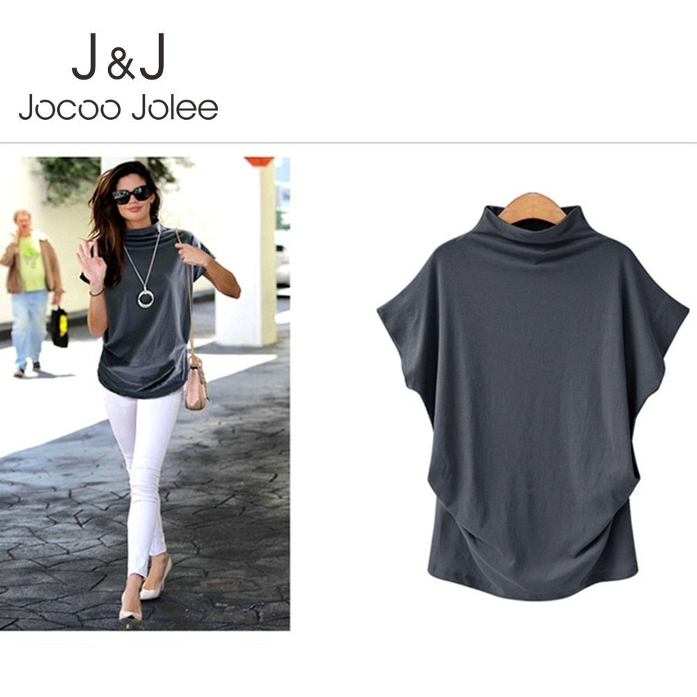 Jocoo Jolee 2019 Women Casual Short Sleeve Turtleneck Blouse Batwing Shirt Female Cotton Solid Plus Size Tops Female Clothing