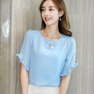 Butterfly Sleeve O Neck Korean Style Blouse