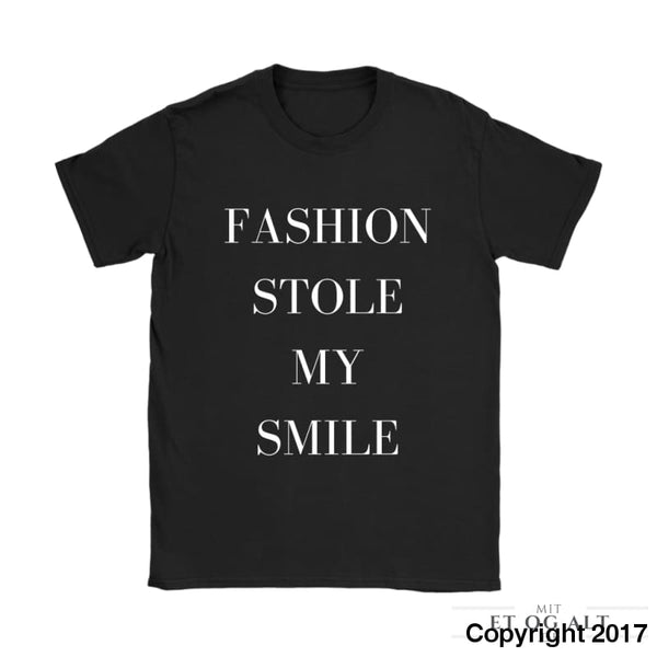 Fashion Stole My Smile - Victoria Beckham - Gildan Womens T-Shirt / Black / S - T-Shirt