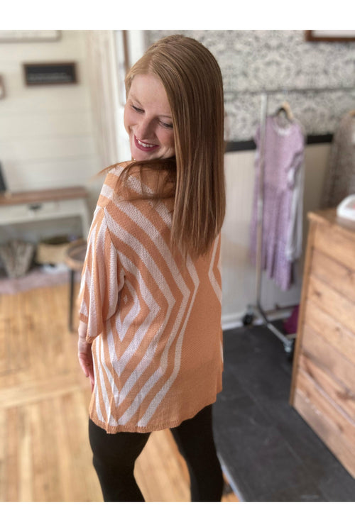 Salmon Chevron Cardigan