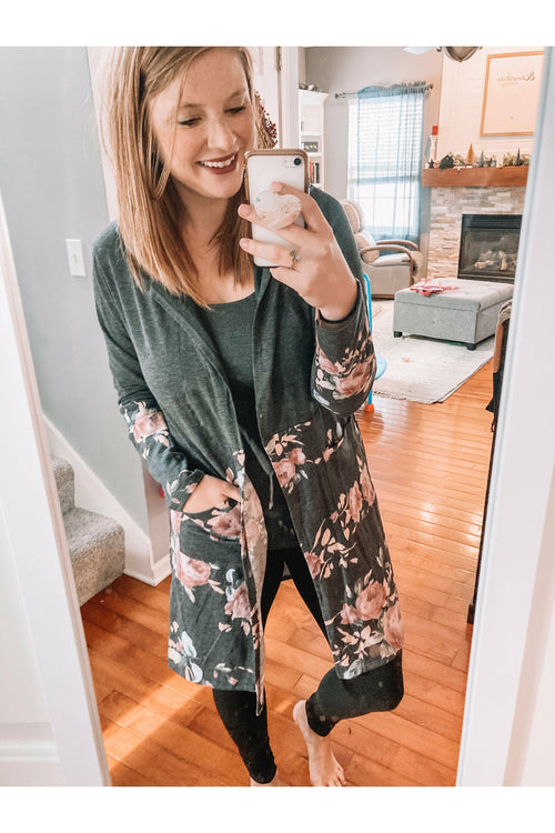 Charcoal Floral Cardigan