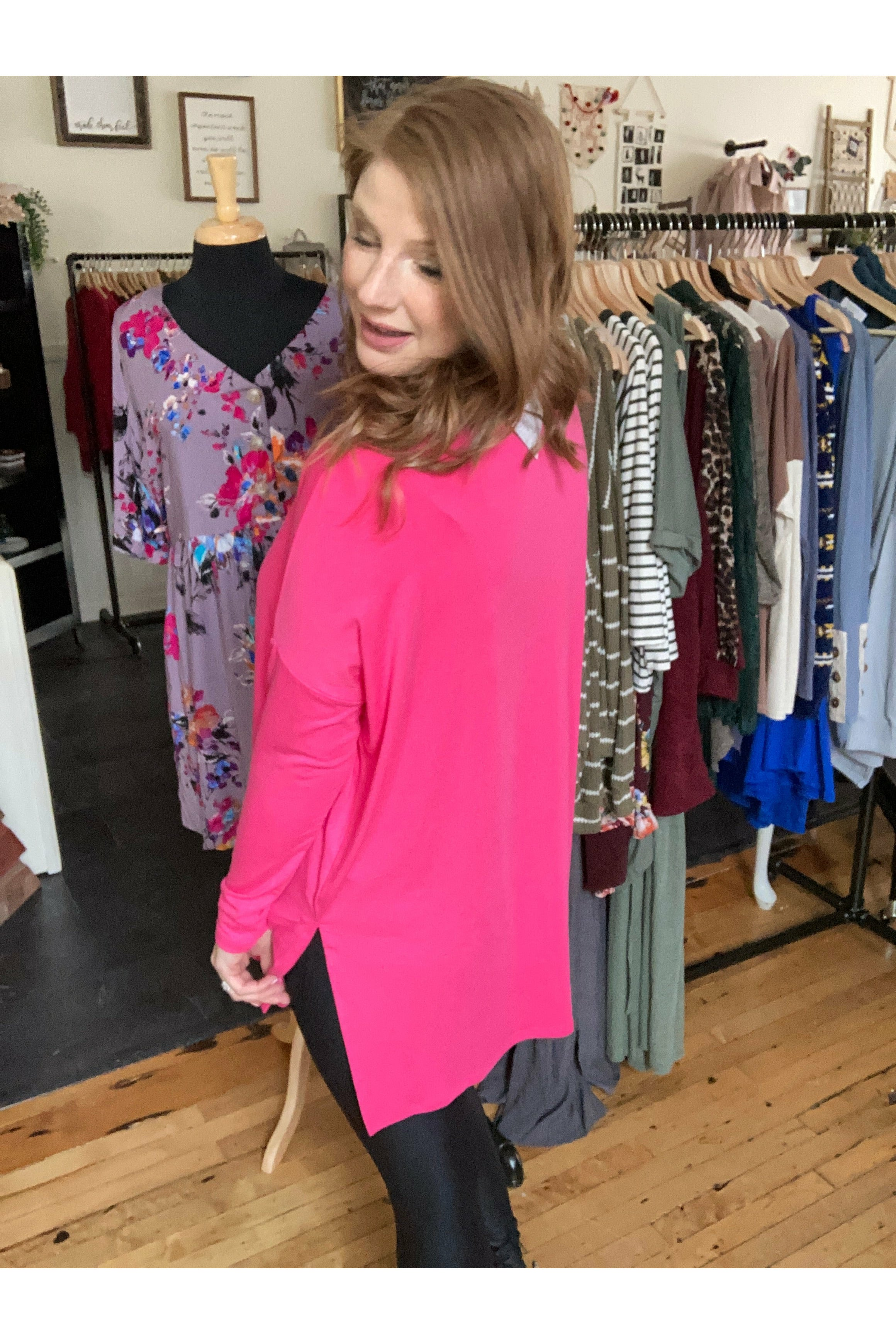 Oversized Fuchsia Top