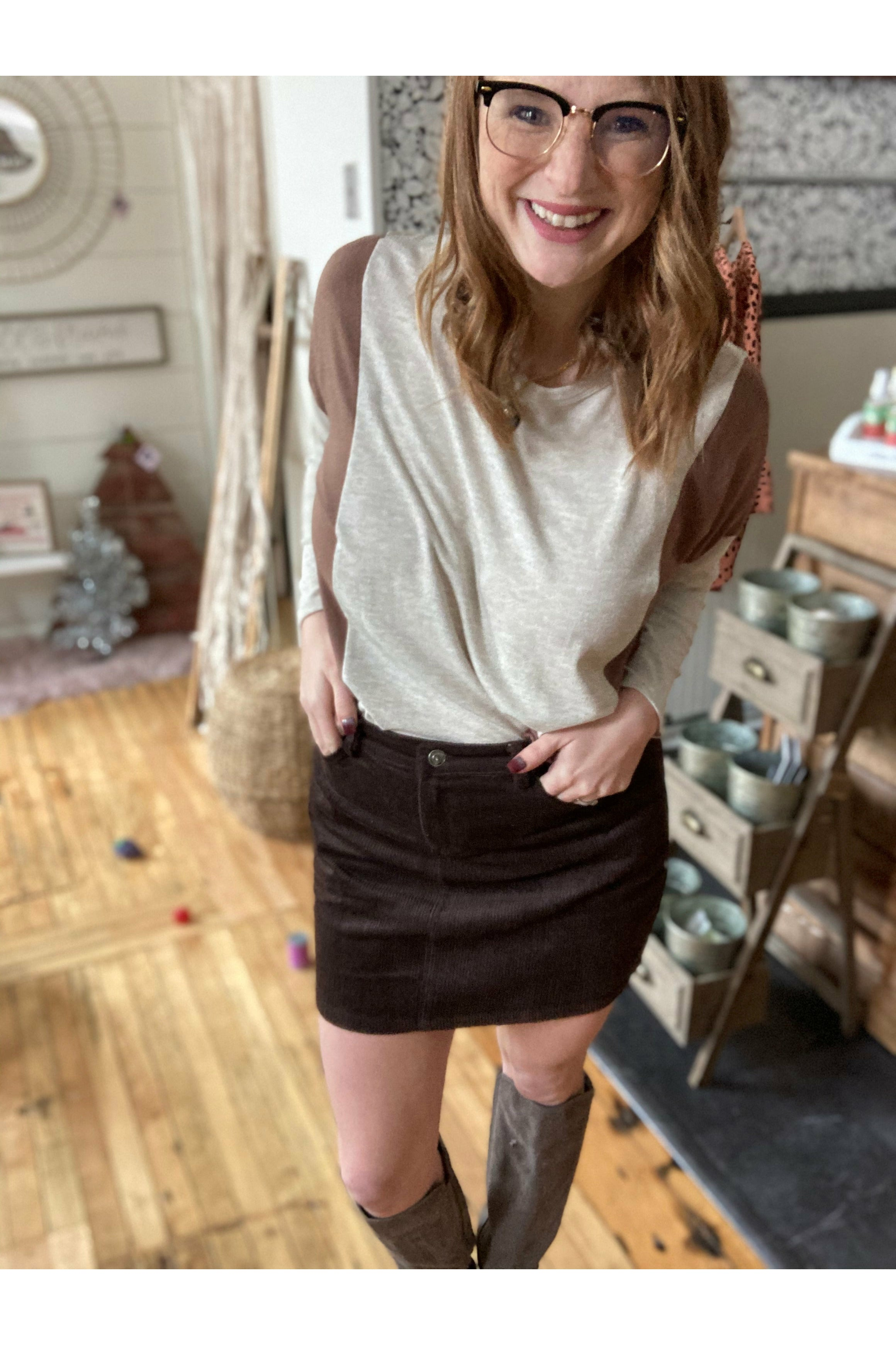 Chocolate Cord Mini Skirt