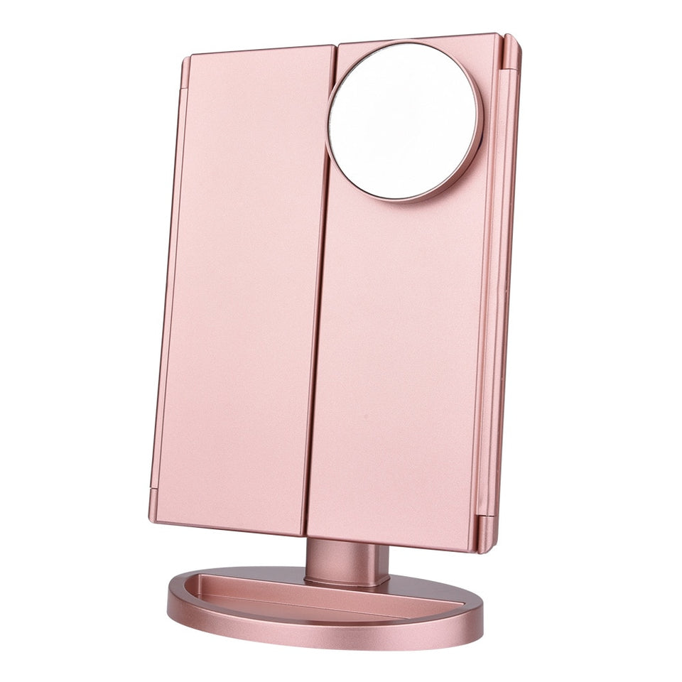 Touch Screen Makeup Mirror 22 LED Light Magnifying Folding Style - Trending Pro