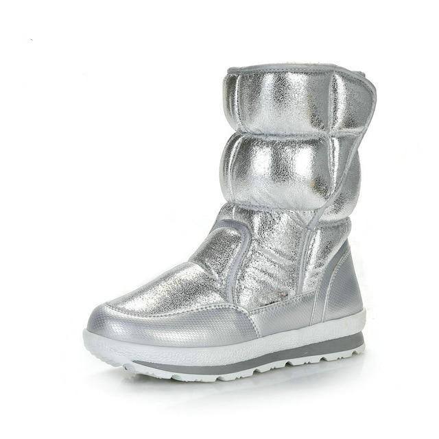 Silver Winter Boots Fake Fur Insole - Trending Pro
