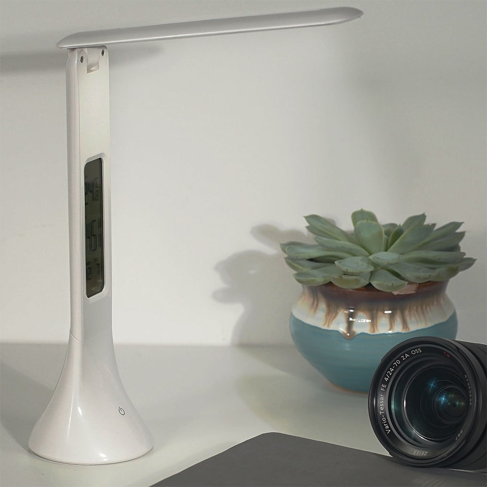 Slim Dimmable LED Desk Lamp With Built-In Clock - Trending Pro