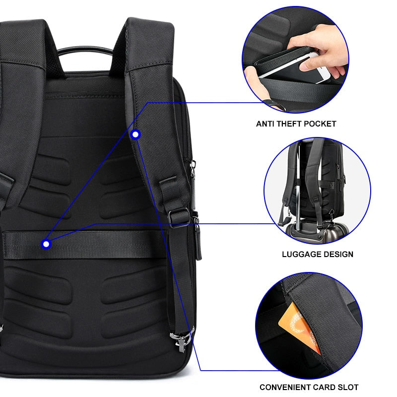 Leather Anti-Theft Luggage Backpack / USB - Trending Pro