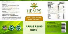 HEMPS 40ct Hemp Apple Rings Gummy - for Pain Relief and Anti-Anxiety Support :: All-Natural Ingredients :: Promotes Relaxation & General Good Health :: 25MG Per Gummy – 100% USA Made Hemp Extract