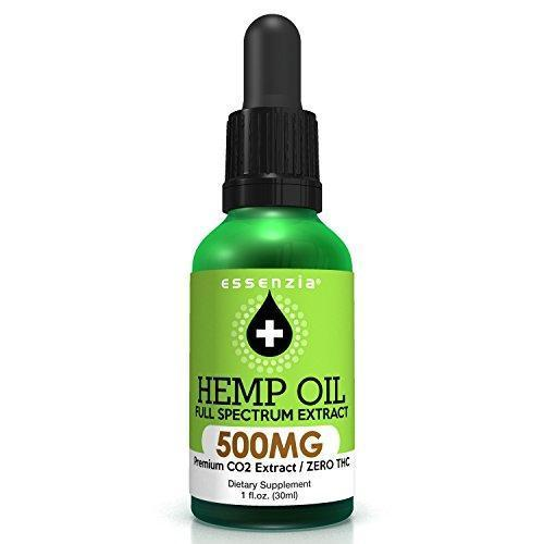 Natural Hemp Oil Drops for Pain Relief by Essenzia – 500mg Full Spectrum, Peppermint Flavor, Pure CO2 Extract Tincture Omega Fatty Acids 3, 6, and 9
