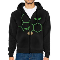 LD6DBGK CBD Molecule Cannabis Sprout Men's Full Zip-up Hooded Sweatshirts Jacket
