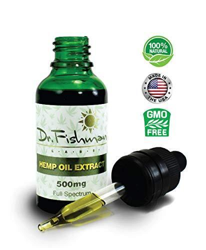 Full Spectrum Hemp Oil - By Dr. Fishman Labs - 500mg 99% Pure Hemp Extract - Pain - Stress - Anxiety Relief 30ml -(1oz) Natural flavor