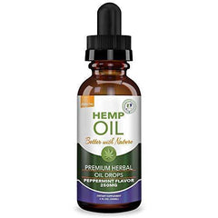 Hemp Oil 250mg for Fast Relief :: Anxiety, Inflammation, Pain, Sleep, Nausea, Depression :: MCT Oil Packed with Omega 3,6 Fatty Acids :: Better with Nature 30 Day Supply :: Peppermint Flavor