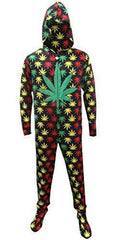 Underboss Men's Rasta Ganja Weed Leaf Footie Onesie Pajamas with Hood (X-Large)