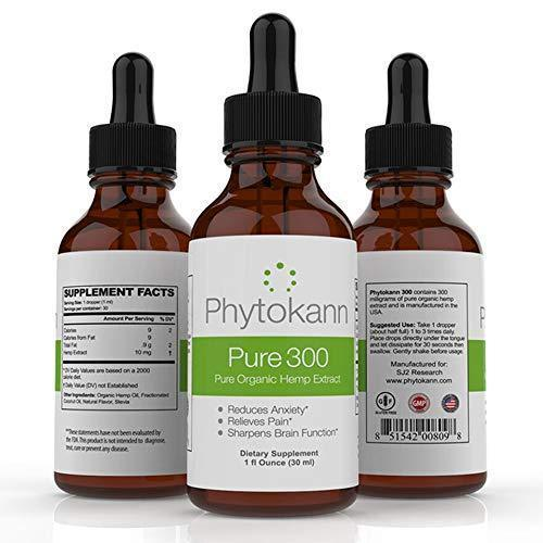 Phytokann Pure 300 Organic Hemp with 300 mg Full Spectrum Hemp Oil Extract helps with Pain, Sleep, Anxiety and overall Mood