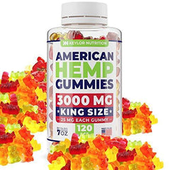 Keylor Nutrition Premium Hemp Gummies – 3000 MG – All Natural Ingredients - Relief for Stress, Inflammation, Pain, Sleep, Anxiety, Depression – Vitamins & Omega 3,6,9 – Made in The USA - 120 pcs
