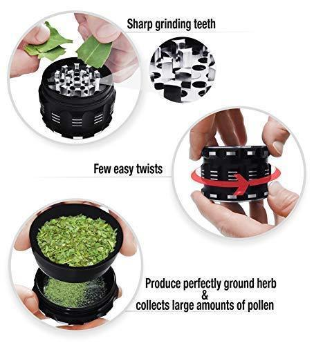 "[Upgraded Version] Best Herb Grinder By Kozo Grinders. Large 4 Piece, 2.5"" Black Aluminium"