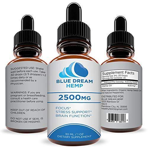 Hemp Oil Extract for Pain, Anxiety & Stress Relief - 2500mg - Blue Dream - Grown & Made in USA - Anti-Inflammatory and Joint Support - 100% Natural Hemp Drops - Sans CBD